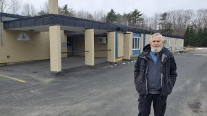 Eric Gouldon outside the former Milton Elementary School