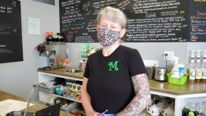 Angie Wilson at Memories Cafe welcomes patrons back to their dining room.